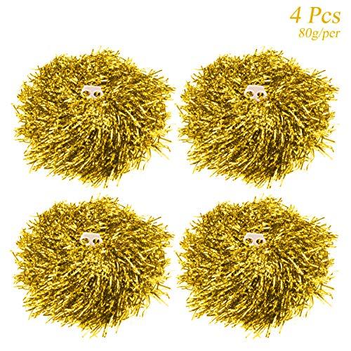 Hatisan-Pro 4 Stücke Cheerleader Pompons, Cheerleading Pompons Handblumen für Sport Beifall Teamgeist Ball Dance Kostüm Nacht Party (Jeder ist 80g) (Gold)