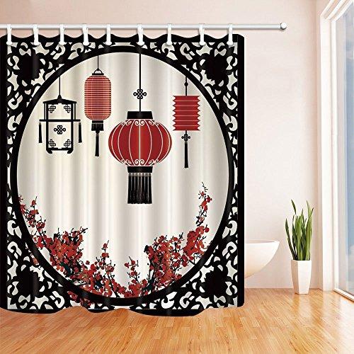 gohebe Laterne Decor Laternen mit japanischen Sakura Cherry Blossom Bäume und rund Kunstvoller Figur Graphic Dusche Vorhänge 180,3x 180,3cm Badezimmer Fantastische Dekorationen Bad Vorhänge Haken im Lieferumfang enthalten