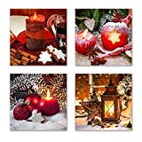 Weihnachten Set B schwebend, 4-teiliges Bilder-Set jedes Teil 29x29cm, Seidenmatte Optik auf Forex FineArt Print, moderne Optik, UV-stabil, wasserfest, Kunstdruck für Büro, Wohnzimmer, XXL Deko Bild