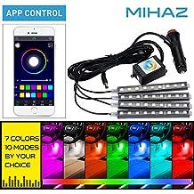 MIHAZ 4x 12cm 36 LED 8 colores coche interior luz tiras coche atmósfera luz, Underdash iluminación kit, coche bajo brillo luz de neón tiras decoración con sonido activa función y APP control