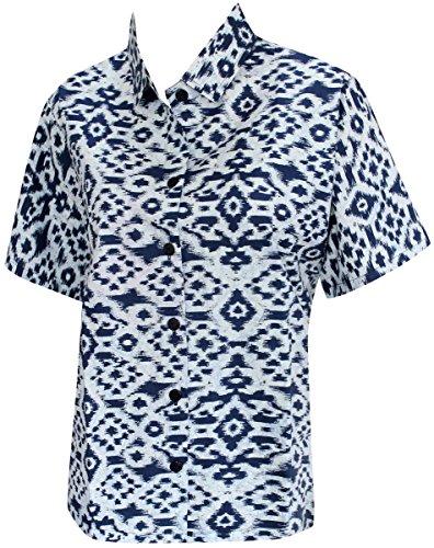 La Leela 100% Baumwolle Hand Malen Vierecke Taste Nach Unten Hemd Frauen Blau M (Unten Malen)