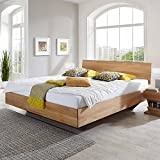 Pharao24 Bett aus Wildeiche massiv honigfarben geölt Breite 186 cm Tiefe 232 cm Liegefläche 180x220