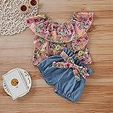♣ Tianya - Blumendruck gekräuselte Oberteile Bow Denim Shorts 2Pc Outfits für Kleinkind Kids Baby Girl