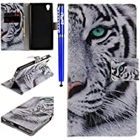 EUWLY Leather Wallet Case for Sony Xperia L1,Sony Xperia L1 Flip Case 3D Colorful Art Painted Painting Pattern Retro Bookstyle Flip Case Cover with Strap Leather Wallet Case Stand Function Credit Card Slots Magnet Closure for Sony Xperia L1 + Blue Stylus Pen - White Tiger