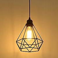 Industriel Suspension Luminaire Rétro Lustre Plafonnier Vintage Noir Lampe Cage Éclairage de Plafond Abat-jour en Métal…