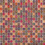 30x30cm Lustrous Irisierende Perlmutt Orange Rot Schimmerndes Glasmosaik Sheet (MT0099 DE)