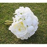 Seta Artificiale Rosa Ortensia Sposa Damigella D'onore Fiore Ragazza Bouquet Bianco