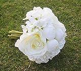 Sharplace Künstliche Rose Hortensie Blumenstrauß Romantische Hochzeit Seide Künstliche Hochzeitsstrauß Rosen Seidenblumen Seidenrosen Kunstblumen Blumen Brautstrauß - Weißer