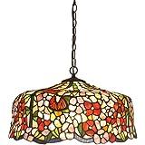 HAUSELIEBE Retro Tiffany Stile Europeo Lampadari, 16 Pollici Motivo Fiore Semplice Lampade A Sospensione Tondo Colore Creativ