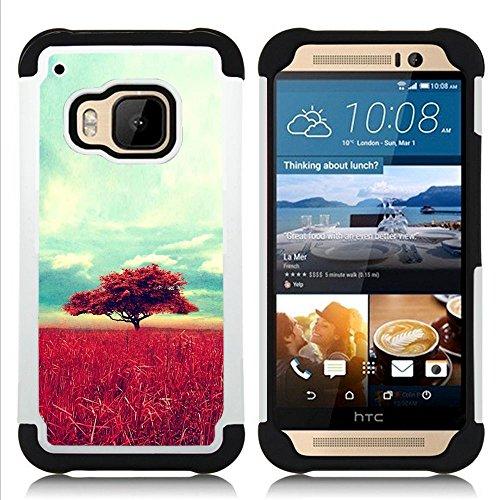 HTC One M9 /M9s / One Hima - 3 in 1 Colorful Heavy Duty Stampato in PC Soft silicone nero della copertura gel della cassa Jacket (Africa Savannah Natura Albero Campo)