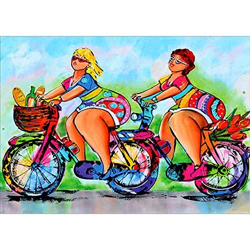 MOTOCO 5d Stickerei gemälde Strass eingefügt DIY Diamant malerei Cartoon Comic-Figuren kreuzstich (a: Frau auf Einem Motorrad)