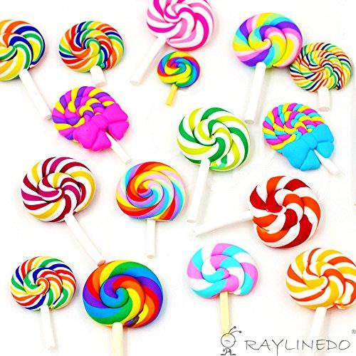 �llige Lollipop Form Polymer Clay embellishmentst Rainbow Farbe DIY Hause Cabochon Craf Scrapbook Ornament (Lollipop Dekorationen)