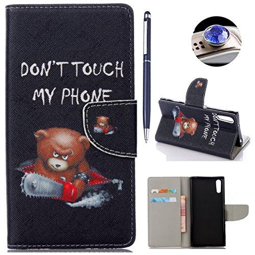 AyiHuan Sony Xperia XZ (5,2 Zoll) hülle, Folio PU Leder Flip Cover Wallet Hardcase im Bookstyle mit Standfunktion Karteneinschub und Magnetverschluß Etui für Sony Xperia XZ, Bär