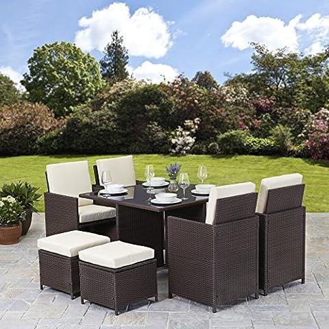 Rattan Cube Garden Furniture Set 8 seater outdoor wicker 9pcs