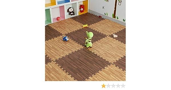 Simwood™ 18 pezzi eva puzzle mat branded effetto legno ad incastro
