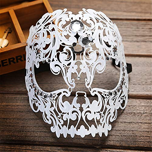 Bangxiu Facted Crystal Dance Half Face Mask Tiger Head Makeup Cosplay Prop Metal Wrought Iron Full Face Mask  Color   White