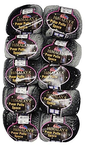Pinar Pullu Space Pelote de laine à paillettes bicolore 500 g 10 x 50 g, proportion de laine 31% Schwarz Grau 62003