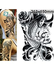 Stickers de tatouage temporaire pour l'art corporel Carpe noire Temporary Tattoo Body Tattoo Sticker - FashionLife
