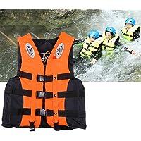 Hiki ziki Professional Adult Swimming Drifting Snorkeling Fishing Wear Buoyancy Vest Safety Life Jacket Weight Capacity 50-75 kg (Orange)