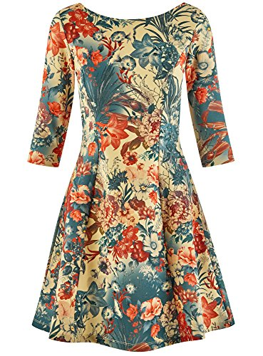 oodji Ultra Damen Bedrucktes Jersey-Kleid Mehrfarbig (3375F)