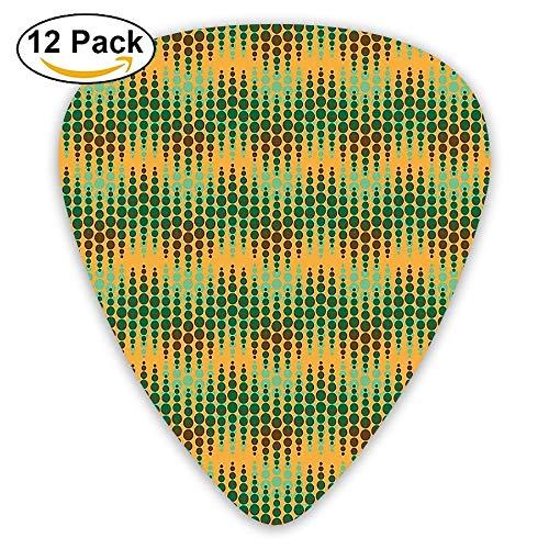 Geometric Repeating Pattern Big Little Polka Dots Optical Design Print Guitar Picks 12/Pack Set