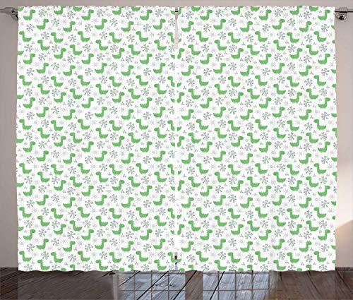 FAFANIQ Dino Curtains, Continuous Dinosaur Cartoon Palm Trees Sun Motifs, Living Room...