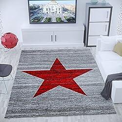 Alfombra para habitación juvenil de polipropileno Heatset, motivo estrella, jaspeada, en rojo y gris - Material certificado según ÖKO TEX, Maße:120x170 cm