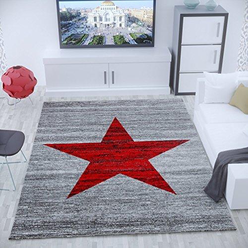 VIMODA Trendiger Kurzflor Teppich Modern Stern Muster Meliert in Rot Grau - Öko Tex Zertifiziert, Maße:60x110 cm