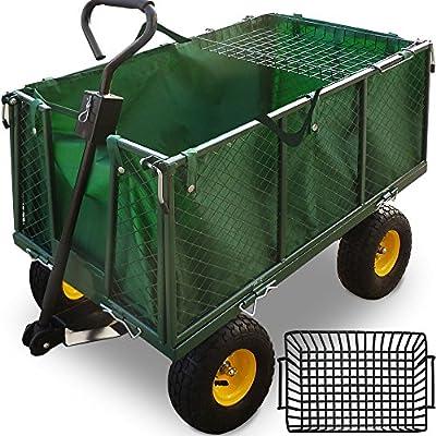 Deuba Garden Trolley Cart Heavy Duty Folding Utility Steel Hand Truck 550kg Capacity 200 L Wheelbarrow ATV Bike Trailer