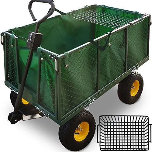 Carro para jardín | Carga máx. 550kg | Paneles abatibles | Lona...