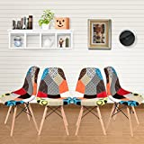 Panana 4 x Retro Patchwork Chair Fabric Dining Lounge Chairs Wooden Home Office Dinning Chair