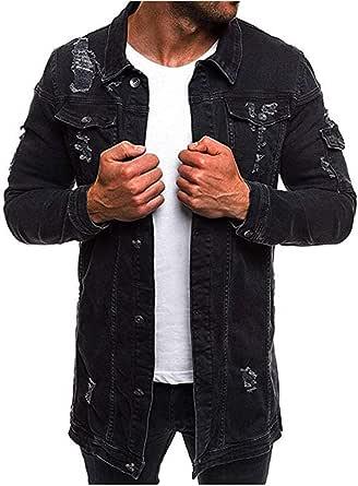 Mens Denim Long Jacket Long Sleeve Vintage Denim Dark Wash Faded Ripped Jean Jacket Casual Jeans Coat Buttoned Streetwear Urban Style Jackets Trendy Denim Mens Tops