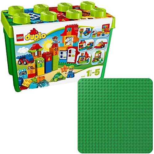 LEGO Duplo 2er Set 10580 2304 Deluxe Steinebox + Grüne Bauplatte