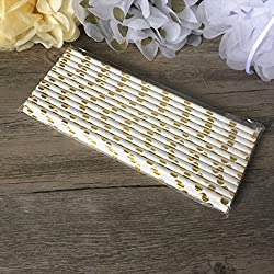 25 pajitas de papel biodegradables con diseño de estrella dorada y rayas para celebraciones y fiestas #11