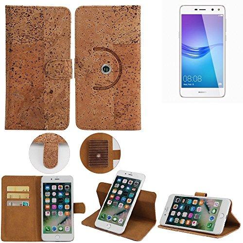 K-S-Trade Schutz Hülle für Huawei Y6 (2017) Dual SIM Handyhülle Kork Handy Tasche Korkhülle Handytasche Wallet Case Walletcase Schutzhülle Flip Cover Smartphone