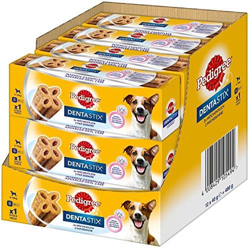 Pedigree DentaStix 2x Wöchentlich Hundeleckerli für kleine Hunde, Kausnack mit Huhn- und Rindgeschmack gegen Zahnsteinbildung für gesunde Zähne, 1erpack (1 x 12 Stück)