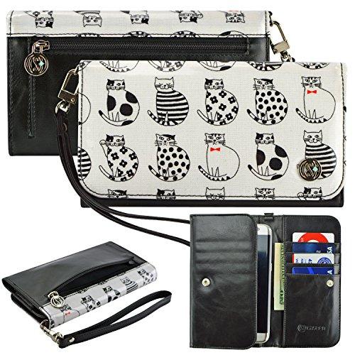 Schutzhülle und Schlüsselanhänger, PU-Leder, für Alcatel Kyocera, Nokia Sony etc. Universal Damen-Geldbörse mit Handgelenkschlaufe, weiße Katzen. Passend für folgende Handy/Gerätemodelle: