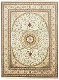 CarpetFine: China Seide Teppich 274x366 Beige,Grün - Handgeknüpft - Floral