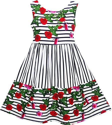 JJ91 Sunny Fashion Vestido para niña Rayado rojo Rosa Bow Corbata Princesa Fiesta Colegio Uniforme 4 años