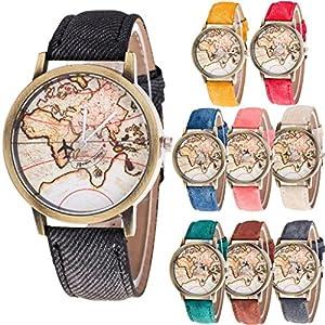 Vovotrade Mujeres Mapa del Mundo vaquero banda de mezclilla reloj de pulsera de cuarzo analógico