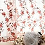 EQEQ Silk Road Bay Fenster Vorhang Semi-Transparente Fenster Geröll Stickerei Vorhänge für Schlafzimmer und Balkon - Pink 300 x 270 cm (118 x 106 Zoll)
