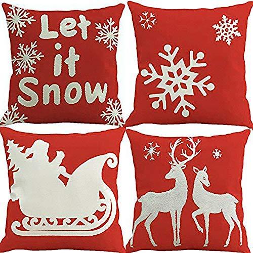 Coobbar 4Weihnachtsschmuck Kissen Fall für Home Santa Clause Weihnachten Dekorativer Überwurf-Kissenbezug Generic Rot 1 (Dekorativen Weihnachtsschmuck)