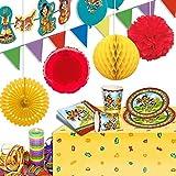Indianer-Dekoration im kompletten Set für Kinder-Geburtstag/Indianerfest 53-tlg.