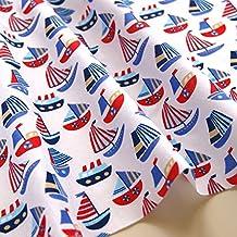 Veleros tela de los niños polialgodón blanco azul azul marino Craft–Náuticos infantil