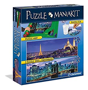 Clementoni - Puzzle Mania Kit: 2 puzzles panorámicos de 1000 piezas + tapete + pegamento (392773)