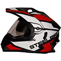 Steelbird SBH-13 / SB-42 Bang Silt Motocross Helmet in Matt Finish (Large 600MM, Matt Black/White with Plain Visor…