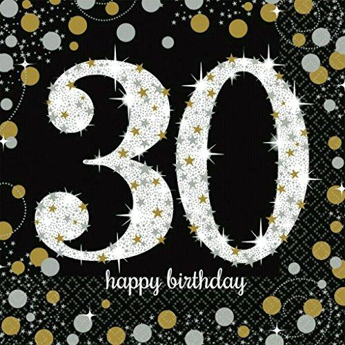Servietten 30 Geburtstag mit Prägung Silber Gold 16 Stück 33x33cm