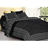 DORMIR TEX PRINT Jaipuri Cotton Double Bedsheet with 2 Pillow Cover (King Size, Black)