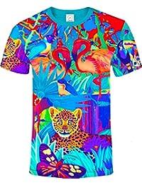 aofmoka Ultravioleta Fluorescente Arte Neón Blacklight Imprimir Camiseta