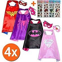 Wonder Woman + SPIDER Girl + Batgirl + Super Girl (Juego 4 Unidades) + 4 pegatinas. Kim y máscara - Disfraces para niños de superhéroes Cape y máscara - Juguete verk sufren & Disfraces niña Fasching o temática de fiestas. Mungo - King - kmsc035